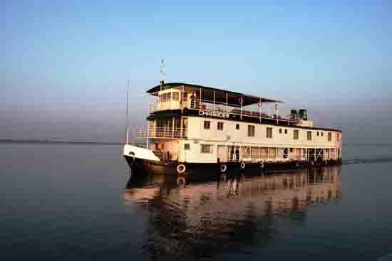 The 12-cabin Brahmaputra River cruise ship Charaidew. Photo by Annie Palovcik