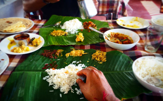 Traditional food served on a banana leaf. Curious monkeys check out the camera. It took an eight-hour bus ride to reach Kumily. Photo by Anup Baria