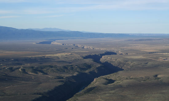 View from the hot air balloon in Taos