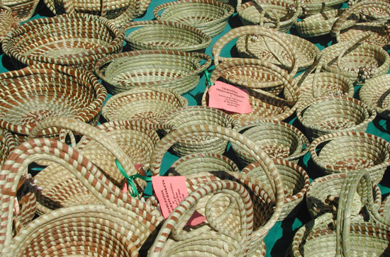 Sweetgrass baskets at the market in Charleston.