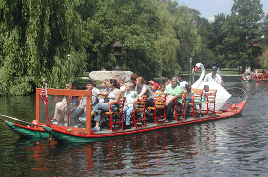 Family travel in Boston often includes a Swan Boat tour