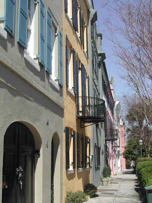 Walking along the streets of Charleston.