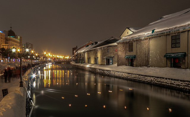 Otaru's famous canal in Hokkaido, thhe northernmost of Japan's main islands. Hokkaido is known for its hot springs, volcanoes and ski resorts
