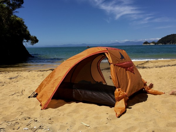 The author's quiet camp at Observation Beach at Abel Tasman National Park. Photo by Ali Van Houten