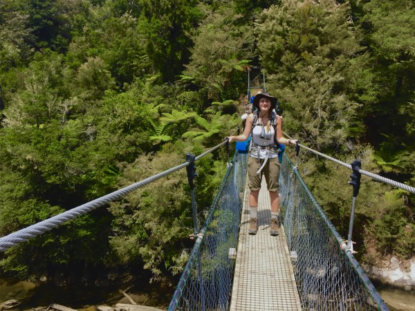 The author on one of many suspension bridges. Photo by Ali Van Houten