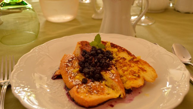 Blueberry Lemon French Toast for breakfast at the Hawthorn House
