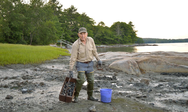 Ernest is an 82-year-old local clam digger. Photo by Irene Middleman Thomas