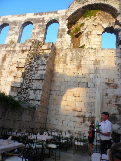 Diocletian Palace and outdoor cafe in Split Croatia