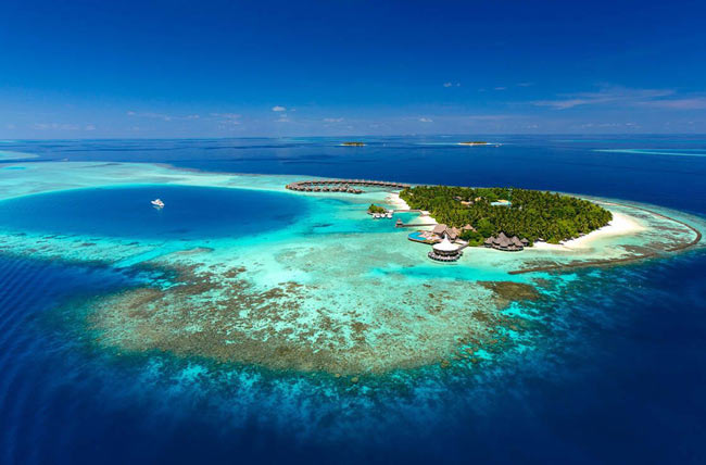 Baros Maldives from the air. Photo courtesy Baros