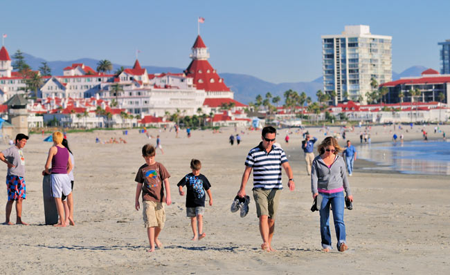 A family walks along Cornado Beach. Photo by Brett Shoaf