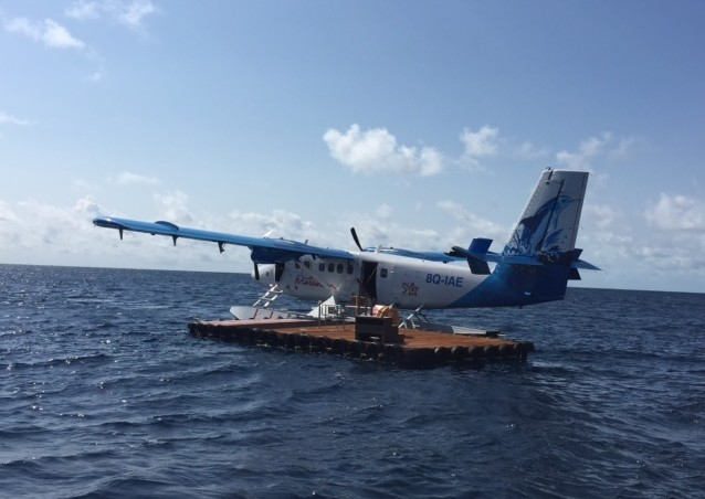 A float plane brings guests to AaaVeee in the Maldives. Photo by Janna Graber