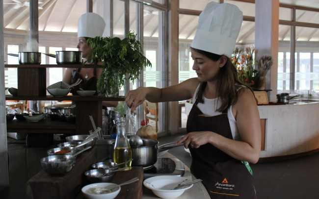 At the Spice Spoons cooking class at Anantara Dhigu, guests can try their hand a making Maldivian dishes. Photo by Jana Graber