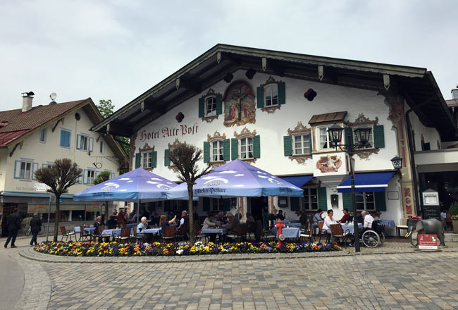 Restaurant with traditional painted walls in Oberammergau, Germany. Photo by Janna Graber
