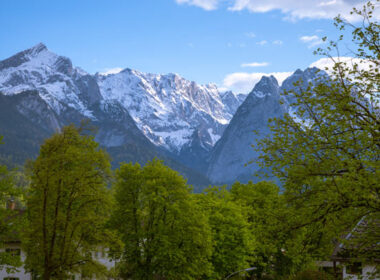 The snow-covered Alps near Garmisch-Partenkirchen, Germany. Photo by Janna Graber