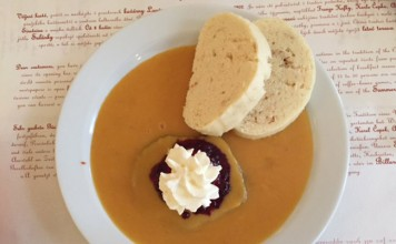 My favorite dish is my favorite Czech dish so far is svíčková, Czech dumplings, braised beef and cranberry compote mixed in a thick vegetable and sour cream sauce. Photo by Janna Graber