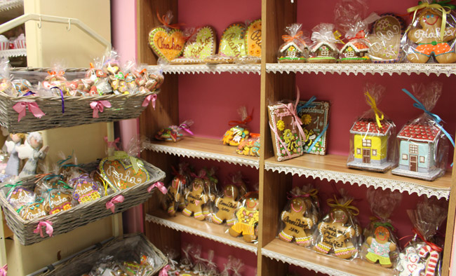 Perníčkův is a tiny gingerbread shop in Prague filled with ornate gingerbread creations. Photo by Janna Graber