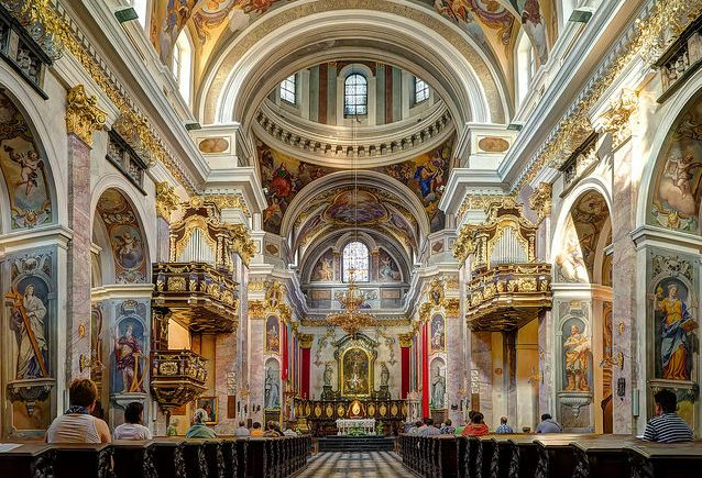 The interior of Ljubljana Cathedral . Flickr/ Pedro Szekely