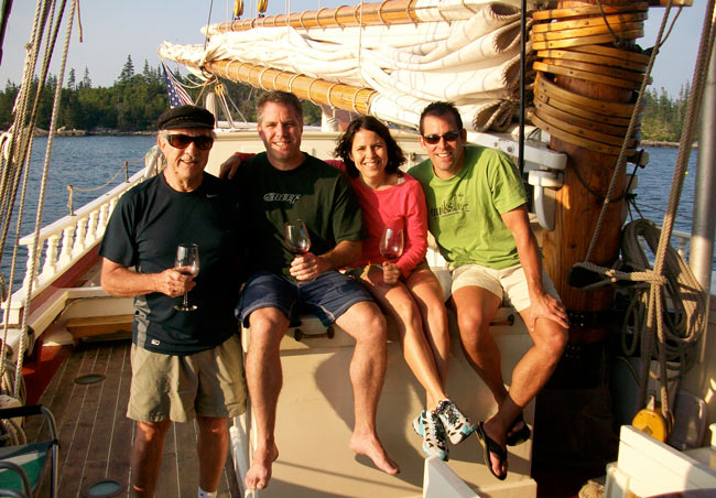 Guests enjoying a glass of wine on board. Photo courtesy Stephen Tabor