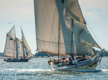 The Heritage sails the waters of Maine, followed by the Lewis R. French. Photo Maine Windjammer Association