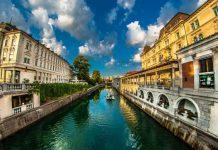 The view of Ljubljana, Slovenia from the three bridges. Photo by Matic Kremžar