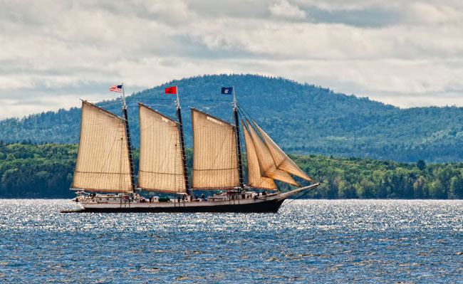 The Victory Chimes sails along coastal Maine. Photo by Fred LeBlanc