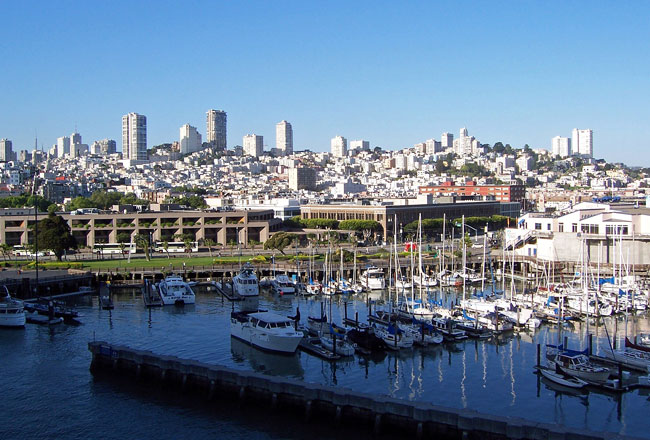 The view of sunny San Francisco from a balcony on the Crown Princess. Photo by Rob Woods