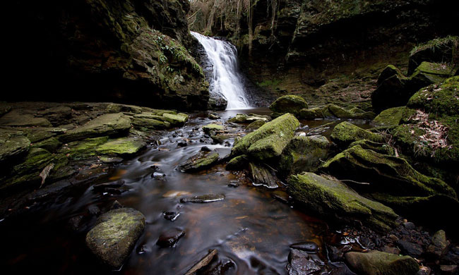 Three-mile hike from Bellingham to the waterfall through the serene Hareshaw Dene