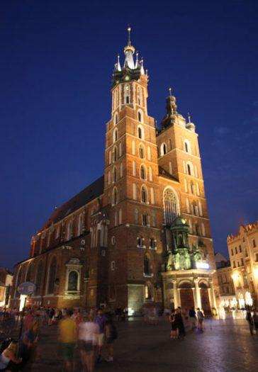 St. Mary's Church on the Market Square at nightfall. Photo by Richard Varr