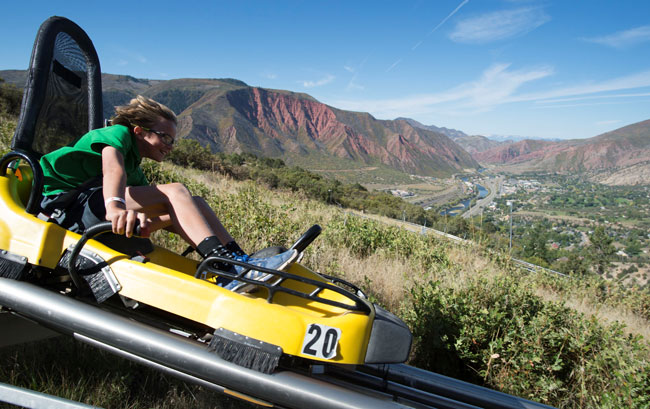 Soaring down the alpine coaster at Glenwood Caverns Adventure Park. Photo by Jack Affleck