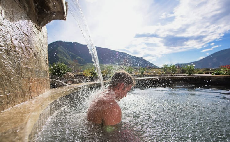 Soaking at Iron Mountain Hot Springs in Glenwood Springs, Colorado. Photo by Jack Affleck