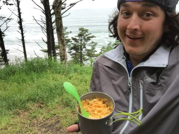 Enjoying some mac n' cheese dinner with a beautiful view of the ocean