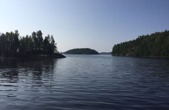 The cool lake water is refreshing after time in the sauna. Photo by Janna Graber