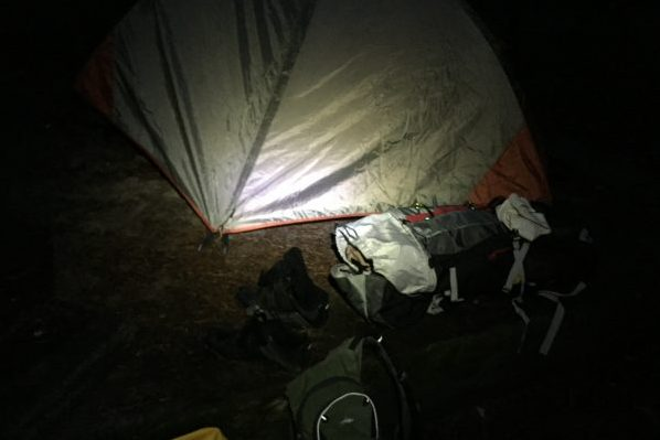 My first night camping alone I set up camp in the dark and went to bed.