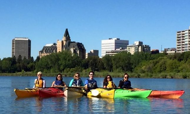 Travel in Saskatoon - Kayaking on the South Saskatchewan River. Photo courtesy Janna Graber