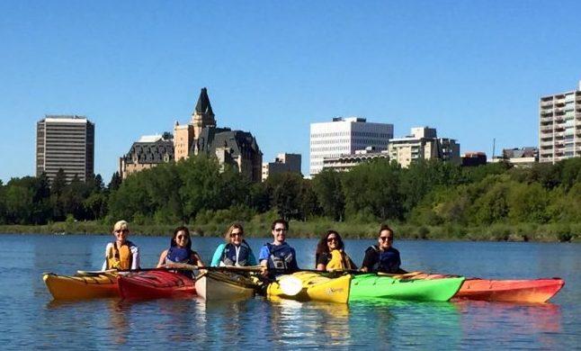 Travel in Saskatoon - Kayaking on the South Saskatchewan River. Photo courtesy Janna Graber