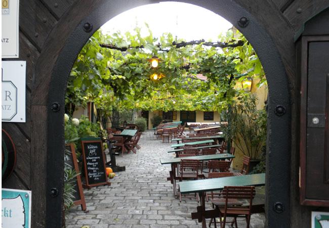 The patio garden at Heuriger Schübel-Auer. Photo by Janna Graber