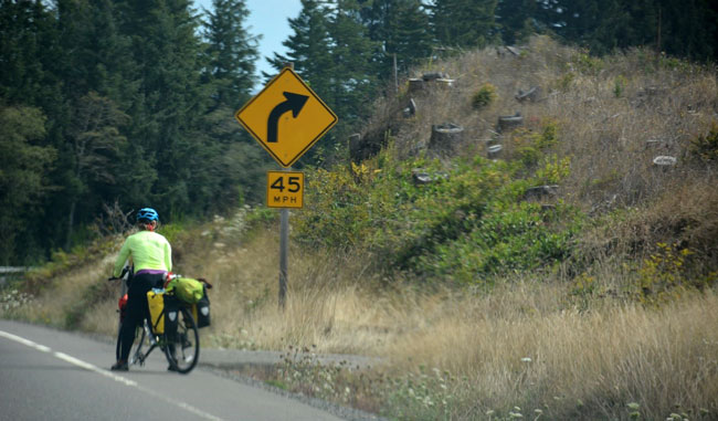 Sharing the road with a cyclist on the Pacific Coast Highway. Photo by Debbie Miller Pond
