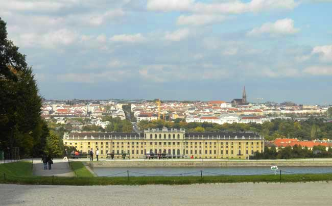Schönbrunn Palace was the summer palace of the Habsburg family. St. Stephens Cathedral stands in the distance. Photo by Janna Graber