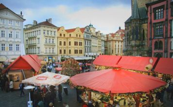 Prague's Old Town Christmas Market in the early stages of being set up. Flickr/Jennie Douglas