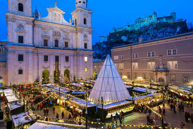The Christkindl Market in Salzburg's Cathedral Square. Photo by Salzburg Tourism