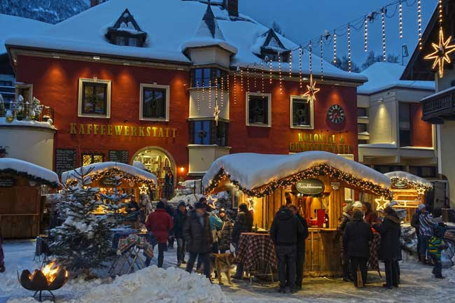 The Christmas market in the village of St. Wolfgang, Austria. Photo by Austria Tourist Office