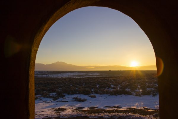 I caught the sunrise from the back patio of the earthship