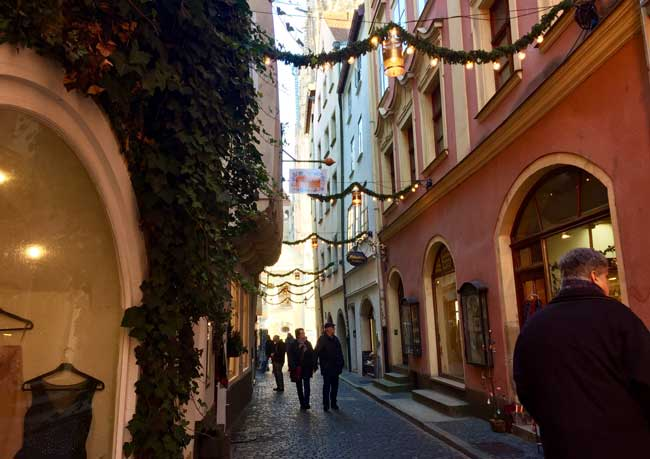 Walking through the Old Town in Regensburg, Germany. Photo by Janna Graber