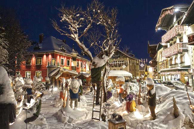Snow-covered nativity in St. Wolfgang. Photo by Austria Tourist Office