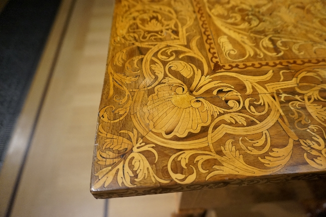 Marquetry table at Queen's Gallery