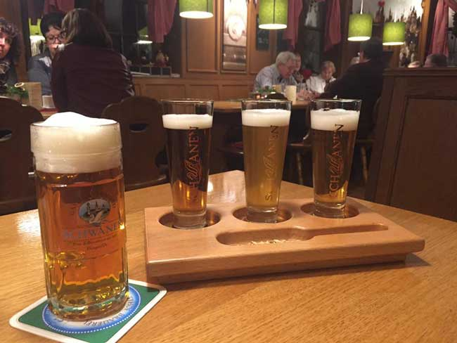 Sampling some of the 40 different beers made by the Schwanen Brewery in Ehingen. The Miller family has owned the brewery since 1864, and the fifth generation is now running the brewery. Photo by Benjamin Rader