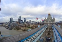 London view from Tower Bridge