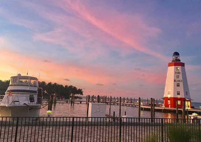 The sun sets at Faro Blanco Resort & Yacht Club in Marathon Key, Florida. Photo by Janna Graber