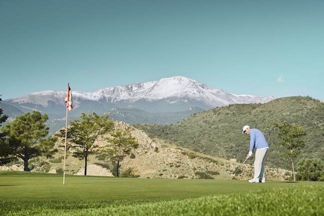 Golf under the shadow of Pike's Peak, photo courtesy of Garden of the Gods