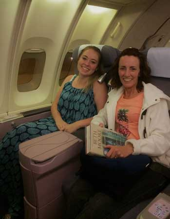The silver lining in our trip overseas -- we got to fly business class! Photo courtesy Debbie Pond